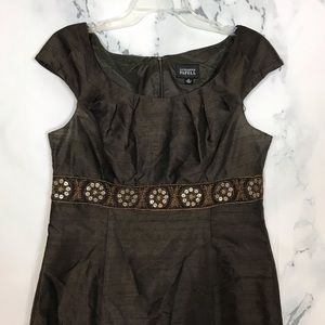 Adrianna Papell Brown Embellished Silk Blend Dress